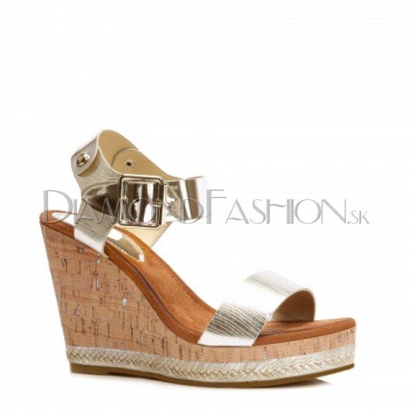 0146412d5a95 Platformové zlaté sandále