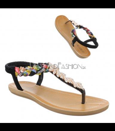 7709c3e3fef4 Čierne sandálky s kamienkami