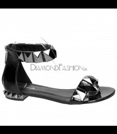 f25f31912442 Čierne metalické sandálky