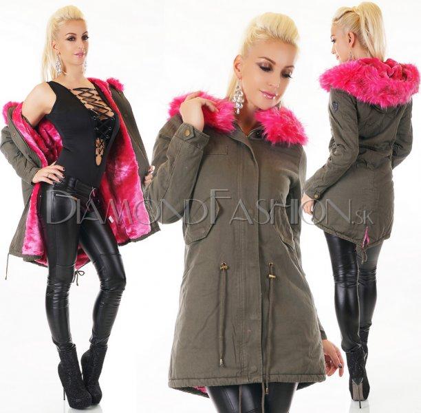 756df65e266e Zateplená bunda Khaki s ružovou kožušinou