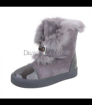 Topánočky s kožušinou   sivé 501b4baad39