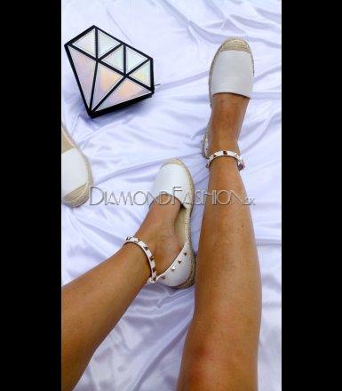 13aa23ee4245 Biele espadrilky sandálky s ozdôbkami