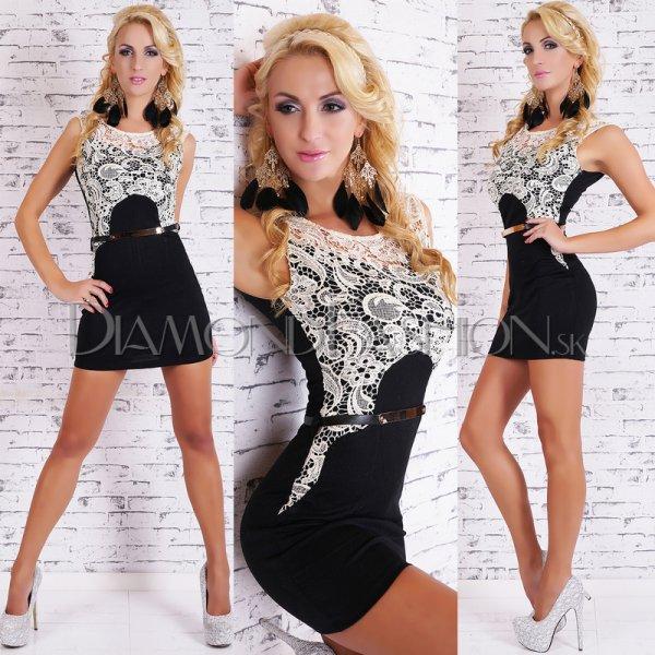 1b4c490f39da Elegantné šaty GLAMOUR s čipkou