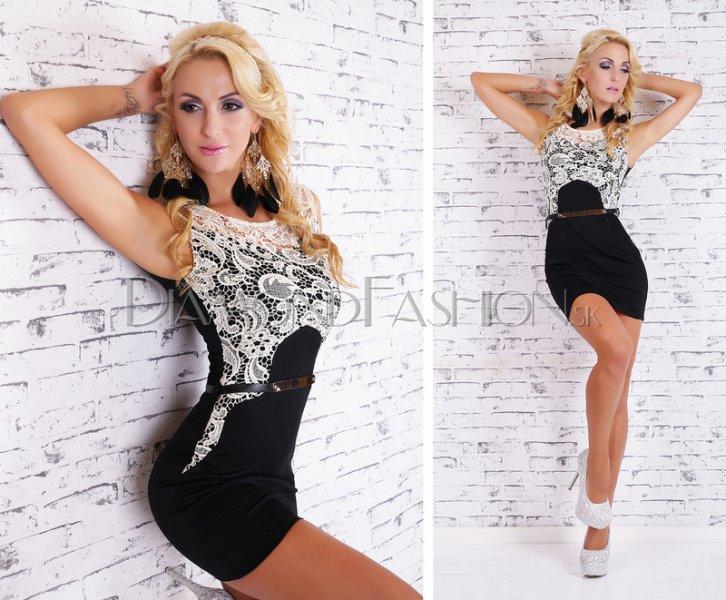 746cd694bb6b Elegantné šaty GLAMOUR s čipkou